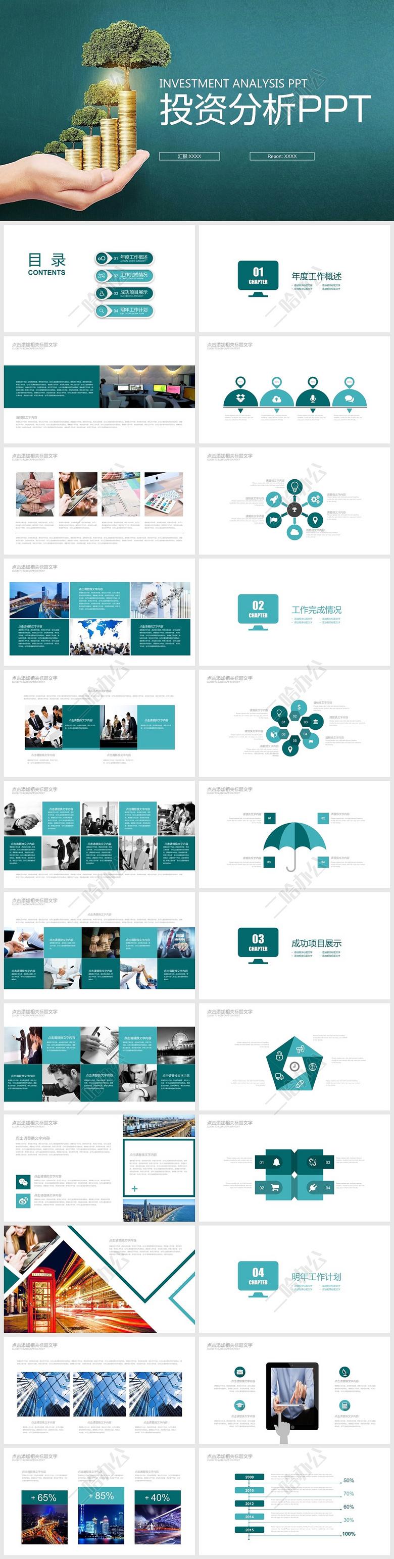 绿色营销案例分析_白绿色投资分析案例分析PPT模板下载-二哈办公