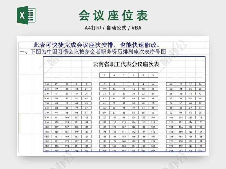 会议室座次安排表_参会者姓名会议座次表-二哈办公